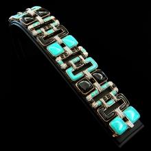 Armband - Weißgold + Roségold 18 Kt - Spinelle + Blaue Emaille + Brillanten