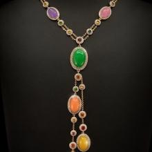 Collier - Roségold + Weißgold 18 Kt - Jade Cabochons + Orange, blaue, pinke, rote und gelbe Saphire + Tsavorite + Brillanten
