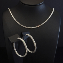 Collier + Ohrringe - Weißgold 18 Kt - Brillanten